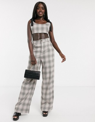 In The Style x Fashion Influx wide leg tailored trouser co ord in check