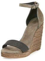 Brunello Cucinelli Monili Espadrille Wedge Sandal, Gray