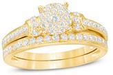 Zales 1/2 CT. T.W. Composite Diamond Collar Bridal Set in 14K Gold