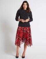 Marks and Spencer Chain Print Chiffon A-Line Midi Skirt