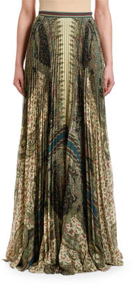 Etro Paisley-Print Pleated Maxi Skirt