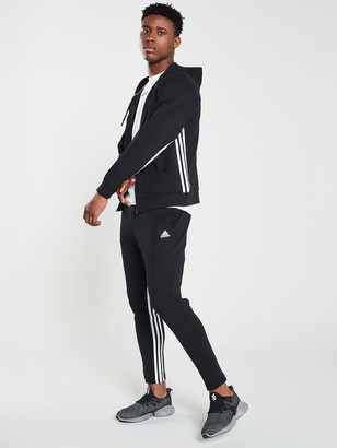 adidas Side 3 Stripe Full Zip Hoodie - Black