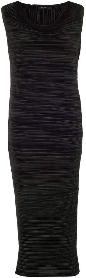 House of Fraser Chesca Black Sleeveless Crush Pleat Dress