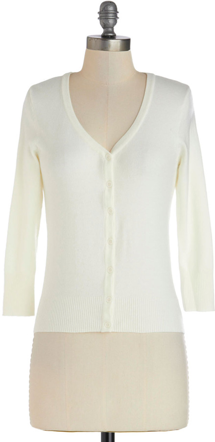 Charter School Cardigan in Ivory