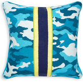 Jonathan Adler Teal Camo Needlepoint Throw Pillow