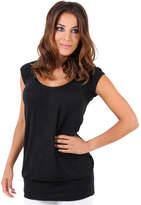 Clothing Women short-sleeved t-shirts Krisp Long Line Summer Casual Top Black Long Line Summer Casual Top Black