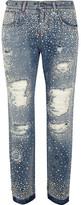 Dolce & Gabbana Swarovski Crystal-embellished Distressed Boyfriend Jeans - Mid denim