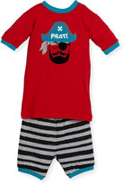 Petit Lem Pirate Top & Shorts Pajama Set, Red, Size 5-6X