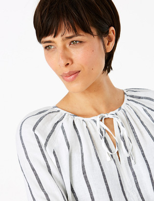 Marks and Spencer Pure Linen Striped Long Sleeve Blouse