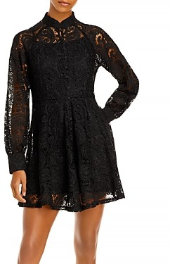 Aqua Short Lace Long Sleeve Dress - 100% Exclusive