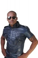 Whip It Leather's Men's Leather Shirt Blue