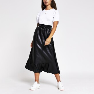 River Island Womens Black faux leather midi skirt
