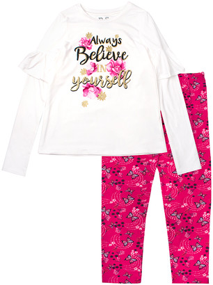 Aeropostale p.s. from Girls' Leggings IVORY - White 'Always Believe' Ruffle-Sleeve Crewneck Top & Pink Leggings - Toddler