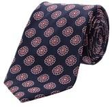 Saint Laurent Navy & Pink Large Flower Pattern Silk Tie.