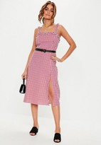 Missguided Red Gingham Frill Strap Midi Dress