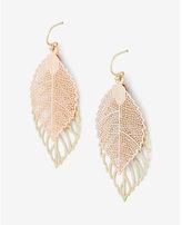 Express double leaf drop earrings