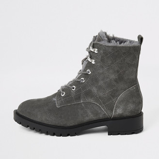 River Island Grey suede quilted lace-up chunky boots