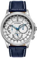 Citizen Men's Eco-Drive Calendrier Blue Leather Strap Watch 44mm BU2020-02A