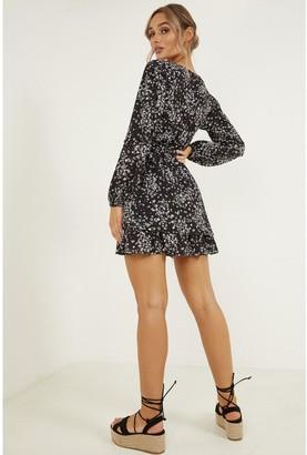 Quiz Ditsy Long Sleeve Wrap Skater Dress - Black/White