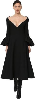 Marc Jacobs Wool Crepe Midi Dress W/ruffled Cuffs