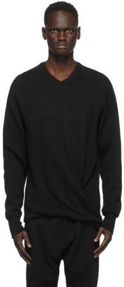 Julius Black Twisted V-Neck Sweater