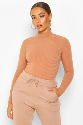 boohoo roll/polo neck Long Sleeve Knitted Rib Bodysuit