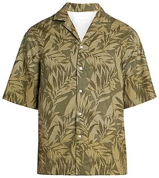 Officine Generale Eren Palm Tree-Print Short-Sleeve Shirt