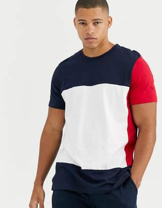 Tommy Hilfiger color block logo crew lounge t-shirt in navy