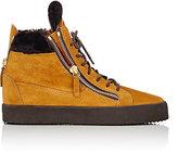 Giuseppe Zanotti Men's Double-Zip High-Top Sneakers-TAN