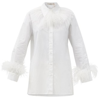 Christopher Kane Feather-trim Cotton-poplin Shirt - White