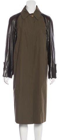 Michael Kors Long Leather-Trimmed Coat