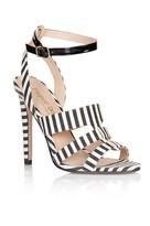 Paper Dolls Footwear Black and White Stripe Triple Strap Heels