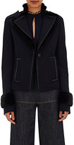 Derek Lam Women's Fur-Trimmed Military Jacket-BLACK, NAVY