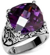 Eternal Sparkles Stainless Steel Ornate Cushion Cut CZ Cocktail Ring,Size:7