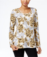 Karen Scott Petite Floral-Print Top, Only at Macy's
