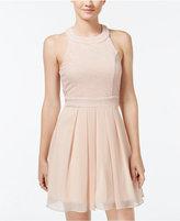 Trixxi Juniors' Crisscross Bow-Back Pleated-Skirt Dress
