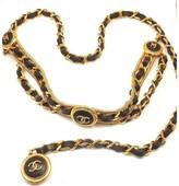 Chanel Gorgeous Vintage Black Leather Wrap Belt Necklace