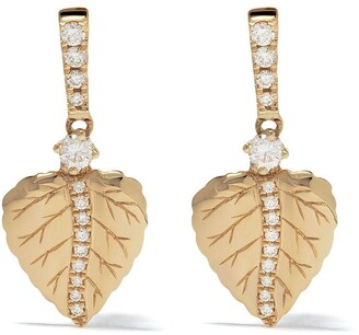 Kiki McDonough 18kt yellow gold Lauren leaf diamond drop earrings