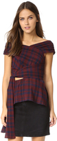 Tanya Taylor Gauzy Plaid Phoebe Top
