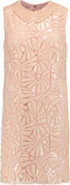 Badgley Mischka Sequined guipure lace mini dress