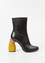 Dries Van Noten black / mustard / old rose colorblock mid boot