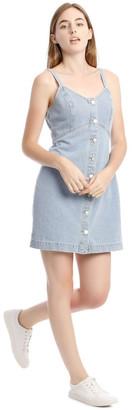 Miss Shop Light Blue Button-Down Denim Dress Lt