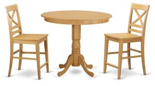 East West Furniture Rubberwood 3-piece Counter-height Pub Set