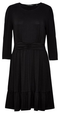 Dorothy Perkins Womens Black Ruched Waist Dress, Black