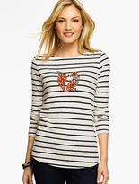 Talbots Sequin Fox Stripe Tee