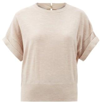 Brunello Cucinelli Monili Trim Wool-blend Short-sleeved Sweater - Light Beige
