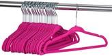 "Shopokus Luxurious Kids Velvet Hangers - 50 Pack - 14"" Wide - Premium Quality Space Saving Strong and Durable 360 Degree Chrome Swivel Hook Ultra Thin Non Slip Junior Hangers - (Pink)"