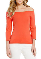 Armani Exchange Off-the-Shoulder 3/4 Sleeve Top