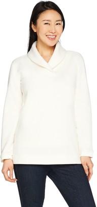 Denim & Co. Textured Fleece Long Sleeve Shawl Collar Top