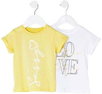 River Island Mini Mini Girls 2 Pack Tshirt- Yellow/White